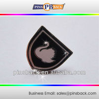 Metal Shield Shape Die Struck Pins Badge with swan logo lapel pins promotion gifts