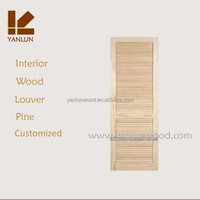 latest modern unfinished solid radiata pine wood louver design interior french door