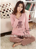 New Women's Cotton Cartoon Bear/Dot Design Long Sleeve Pajamas Sleepwear Sleep Clothes cheap 11177