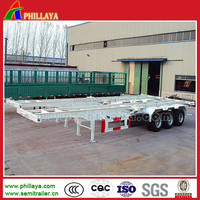 Phillaya Brand 2-3Axles 20-40ft Trailer /Container Semi Truck Skeleton Trailer Chassis for Exporting