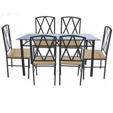 Rectangular Glass Top Metal Dining Table and Chairs