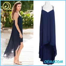 New Summer Pleat Dipped Hem Beach Maxi Dress