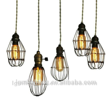 Industrial lighting fixture hanging lamp & iron cage 5 lights MP10-5