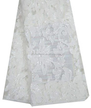 2015 Wholesale New Fantasy African French White Net Sequins Lace Fabric