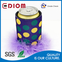 Keep 12oz Beer Cold Custom Sublimation printing Flossy feather fur fluffy neoprene Can Cooler Bag