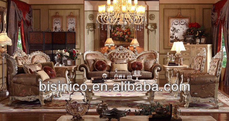 Luxury classic living room furniture sofa set spainish style with hand carved european royal - Add luxurious look home royal sofa living room ...