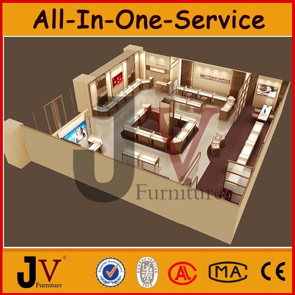 Famous brand jewellery showroom designs with display furniture