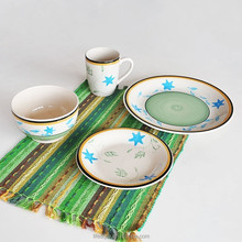 16PCS Ceramic Dinner Sets,Stoneware with Handpainted,Dinner Sets With Star Design