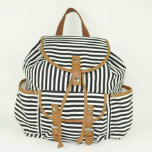 Good looking leisure style beautiful girls black white striped printed canvas backpack bag