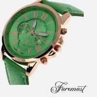 2015 New Fashion Ladies Watches Roman Numerals Faux Leather Analog Quartz Women Men Casual Relogio Hours Wrist Watch