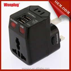 new design Universala USB Travel Adapter with US,UK,EU,AU plug covering more than 150 countries