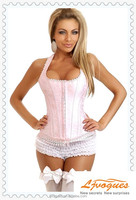 Pink Halter Style Overbust Bridal Corset With Floral Pattern and Lace Trim