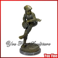 Sports Figure Boy Bronze Statue For Decorative