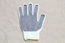 Cotton drill polka dotted gloves