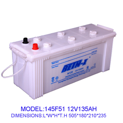 12V Dry charge car battery 135AH BETN-I BRAND 145F51 car battery supplier