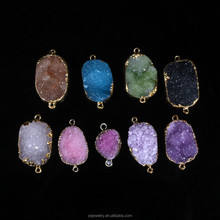 JWWYPWW0038 HOT!!! factory direct sale big facted rock druzy connector,turquoise color stone druzy bead connectors,fashion charm