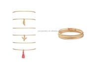 B798-125 ladies daily wear fashion jewelry embossed 6pcs/set bird leaf tassel thin metal bangles