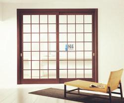 Entry glass sliding doors square grids