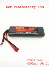 Rechargeable lipo rc hard round case battery packs 7.4v 4000mah 40C fo rc racing cars