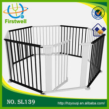 8 pannels black wooden baby playpen baby safety fence with door flexible