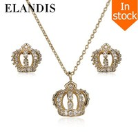 E-ELANDIS yiwu jewelry new products on china market fashion copper gold crown jewelry set