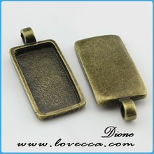 1 inch Cabochon Setting,Square Pendant Blank,25mm long connector Blank Square Cabochon VI