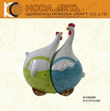"""9"""" jardín de cerámica gallina de corcho y de cerámica artesanal de adorno de jardín"""