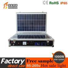 Portable lighting 1000W solar home system with LCD display and DC/AC output