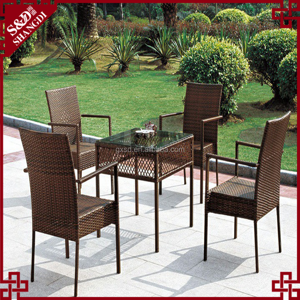 Outdoor Patio Dining Set With Rattan Wicker Steel Power
