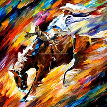 Abstract Painting Abstract Riding Horse Cowboy Oil Painting On Canvas Frameless Decor Horse Pictures For Bed Room Decoration