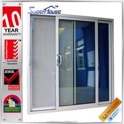 Australia standard double glazed aluminum sliding simple bedroom door design with mosquito flynet