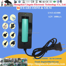 American plug 4.2V 1A black super fast 18650 battery charger hot sell