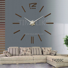 Copper Color Big Wall Clock Luxury 3D DIY Wall Clock Home Decor Mirror Stickers Art Watch
