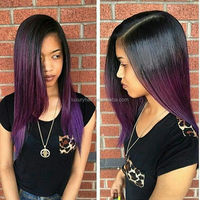 Top Quality Factory Price 16inch Ombre #1b/purple Straight Full Lace Wig