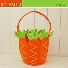 china factory custom diy handmade creative carrot shape easter felt hanging basket