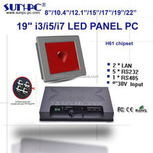 """factory 19"""" X86 single board i3/i5/i7 industrial touchscreen panel pc,all in one pc,5*RS232,RS485,2LAN,6USB, Window's linux OS"""