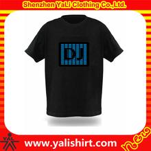 Custom fashion mens short sleeve el flashing t shirt el t shirt wholesale