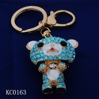 yiwu factory custom made 3d crystal names for a teddy bear keychain