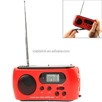 Newest Digital Radio Multi-function Mini Portable Solar Dynamo Power 3 LED Flashlight AM / FM Digita