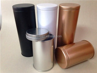 Cylinder Airtight empty coffee cans double lid style black/white/gold color for choice