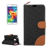 Denim Texture Leather Flip Phone Case for Samsung Galaxy S5 with Stand