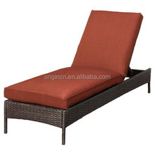 Low price red cushions outdoor rattan widely used chaise lounge