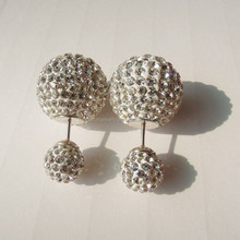 15mm 925 Sterling Silver Stud Clay Pave Crystal Shamballa Ball Double Faced Earrings