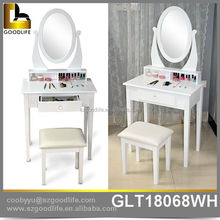 Wooden dressing table with mirror designs for bedroom