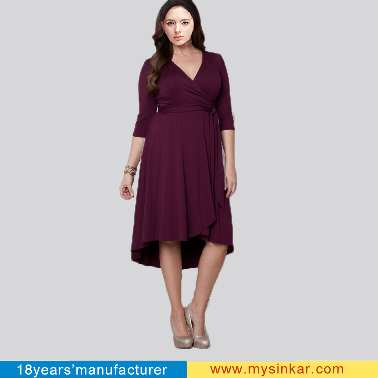 Female Open Front Plus Size Wrap Dress Three Quarters Sleeve Ruffled