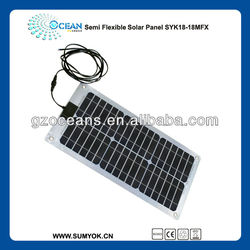 Semi flexible solar panel 18W for touring car waterproof surface portable bending solar panel