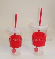 plastic travel cup with straw