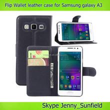 Super slim flip Wallet leather case for samsung galaxy A3 A3000, for samsung galaxy A3 case leather
