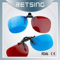 2015 Hot selling and High quality clip on 3d red blue glasses with factory direct