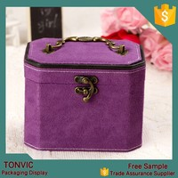 Purple custom made velvet jewelry box for fashion jewelry as gift for lady
